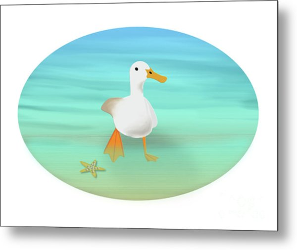Duck Paddling At The Seaside Metal Print