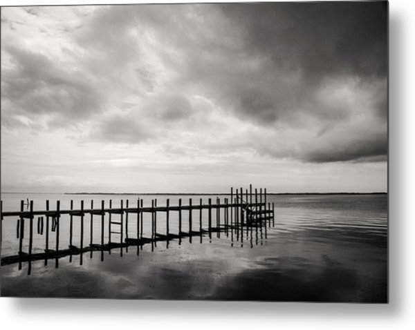 Duck Pier In Black And White Metal Print