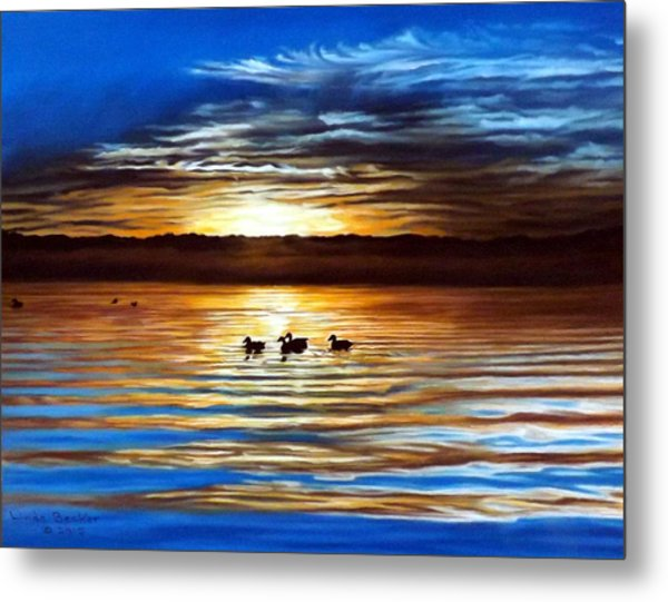 Ducks On Clear Lake Metal Print