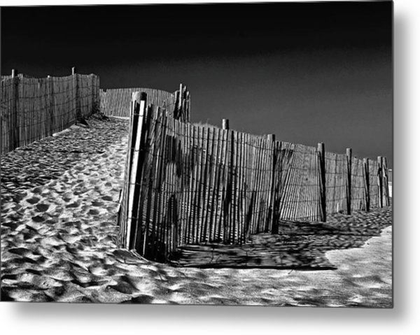 Dune Fence, Black And White Metal Print