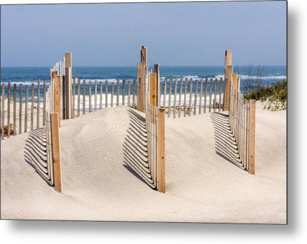 Dune Fence Landscape Metal Print