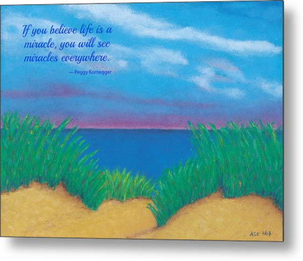 Dunes At Dawn - With Quote Metal Print
