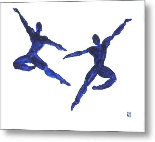 Duo Leap Blue Metal Print