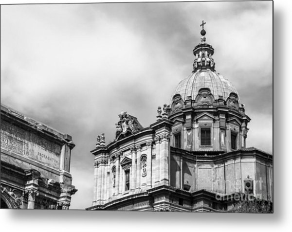 Duomo Of Santi Luca E Martina And Arch Of Septimius Severus  Metal Print