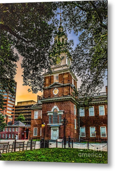 Dusk At Independence Hall Metal Print