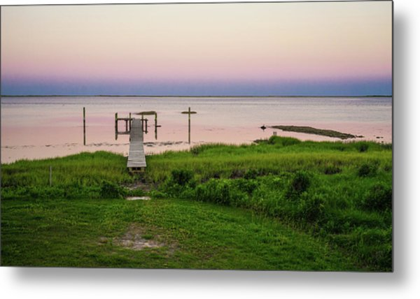 Dusk At Battle Point, Accomac, Virginia Metal Print