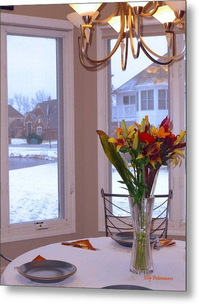 Dusk Dining View Metal Print