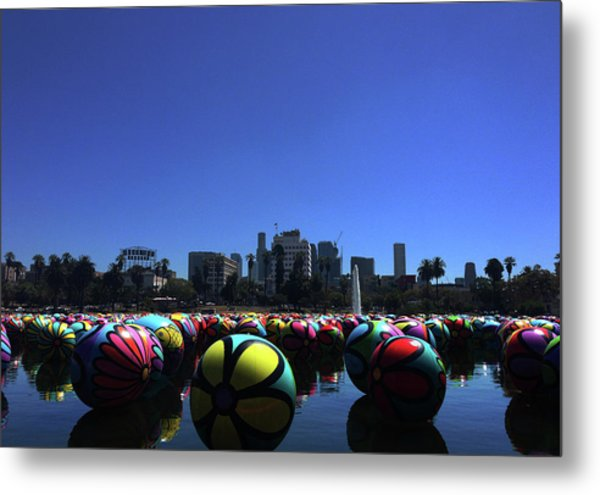 Metal Print featuring the photograph Dusk Finds The Spheres Of Macarthur Park by Lorraine Devon Wilke