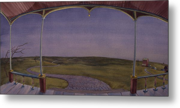 Dusk On The Porch Of The Old Victorian Metal Print