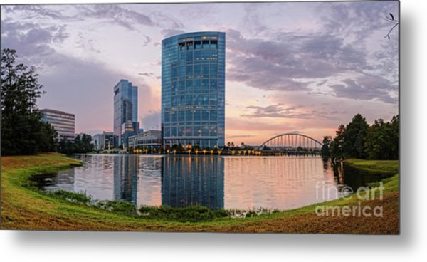 Dusk Panorama Of The Woodlands Waterway And Anadarko Petroleum Towers - The Woodlands Texas Metal Print