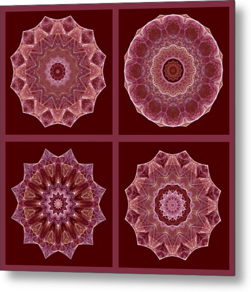 Dusty Rose Mandala Fractal Set Metal Print