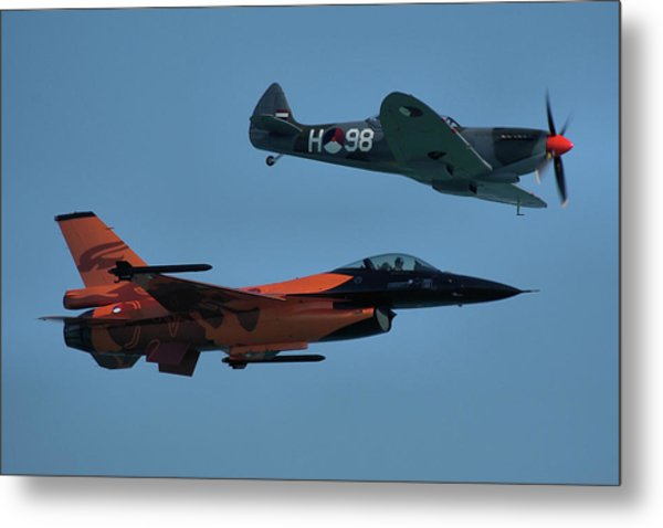 Dutch F-16 And Spitfire Metal Print