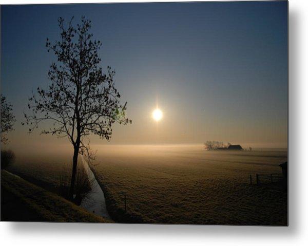 Dutch Farm At Dawn Metal Print by Hans Kool