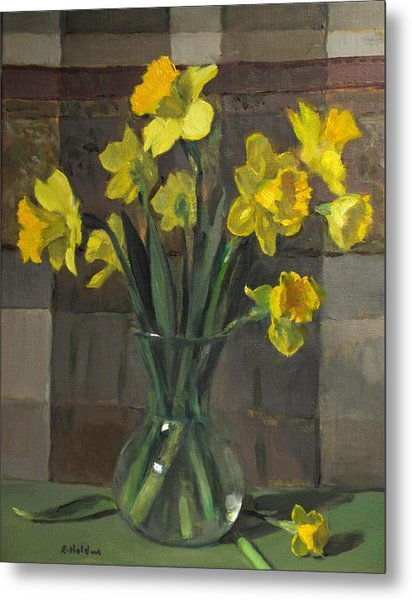Dutch Master Narcissus In An Hourglass Vase Metal Print