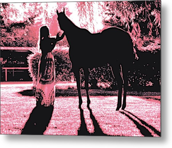 Dylly And Lizzy Pink Metal Print