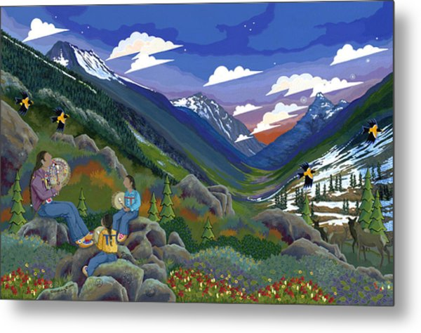 Metal Print featuring the painting Eagle Boys Learn To Sing by Chholing Taha