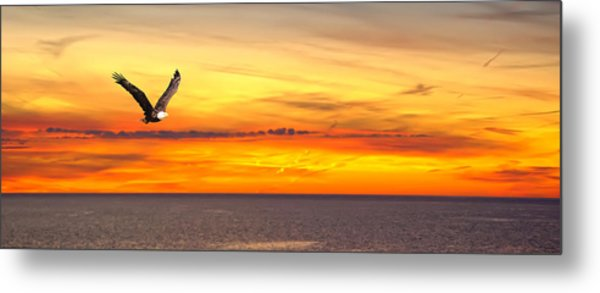 Eagle Panorama Sunset Metal Print