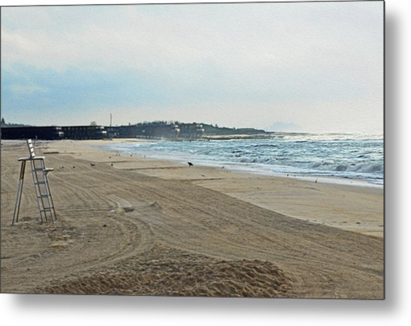 Early Morning Beach Silver Gull Club Metal Print