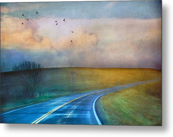 Early Morning Kansas Two-lane Highway Metal Print