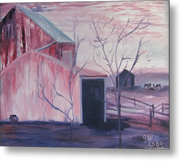 Early Morning On A Horse Farm Metal Print by Gloria Condon
