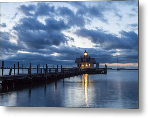 Early Morning Over Roanoke Marshes Lighthouse Metal Print