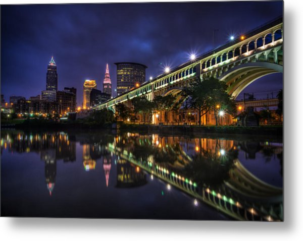 Early Morning Riverside In Cleveland Metal Print