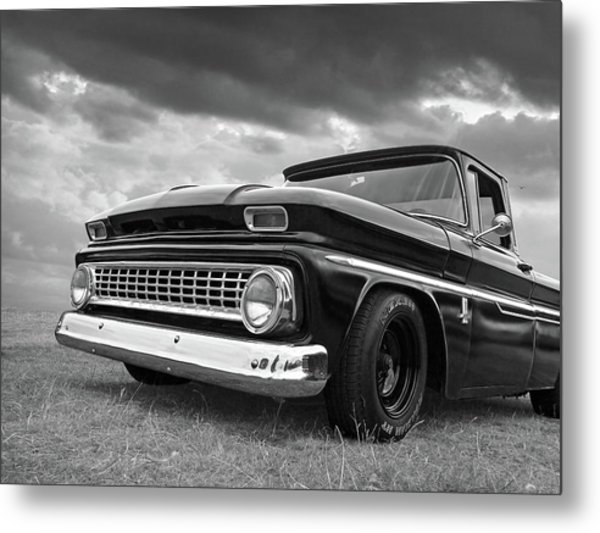 Early Sixties Chevy C10 In Black And White Metal Print