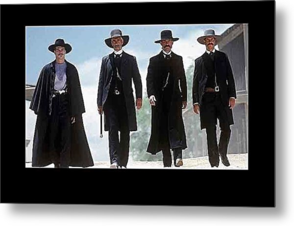 Earp Brothers And Doc Holliday Approaching O.k. Corral Tombstone Movie Mescal Az 1993-2015 Metal Print