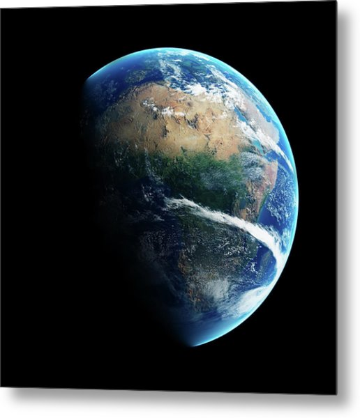 Earth Day And Night Space View Metal Print