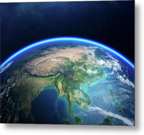 Earth From Space Asia View Metal Print
