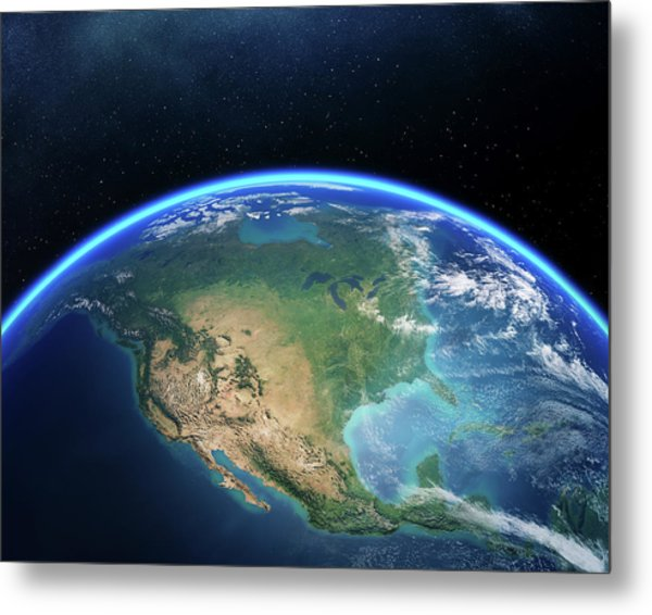 Earth From Space North America Metal Print