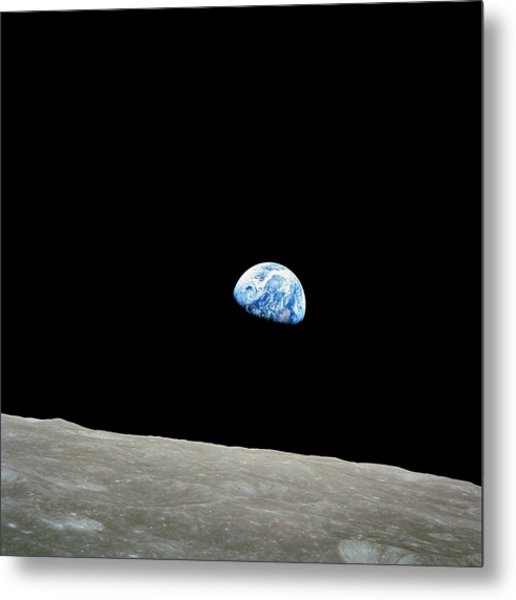 Earthrise Over Moon, Apollo 8 Metal Print
