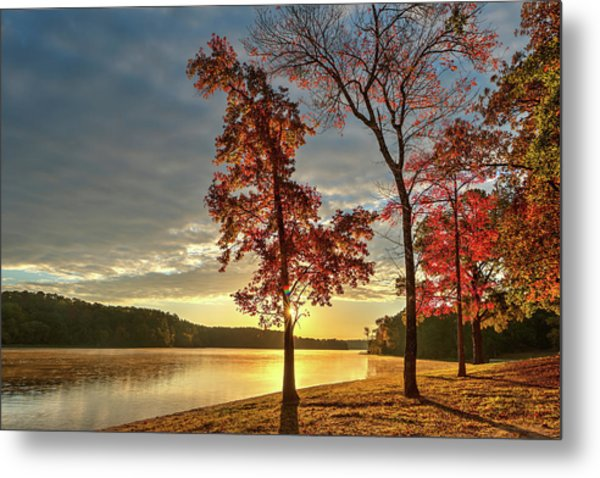 Metal Print featuring the photograph East Texas Autumn Sunrise At The Lake by Todd Aaron