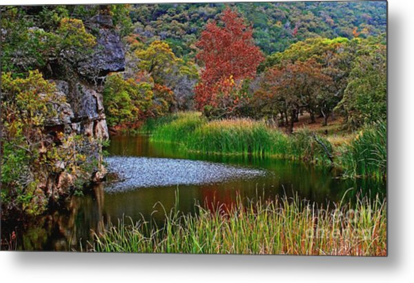 East Trail Pond At Lost Maples Metal Print