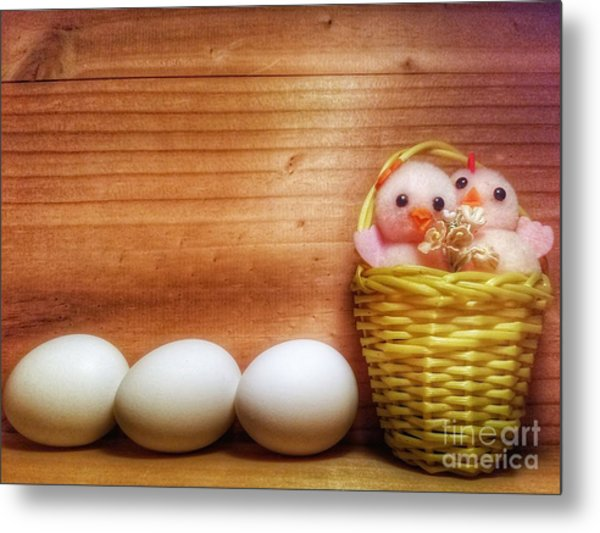 Easter Basket Of Pink Chicks With Eggs Metal Print