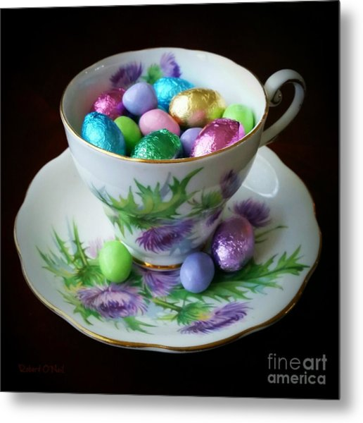 Easter Teacup Metal Print