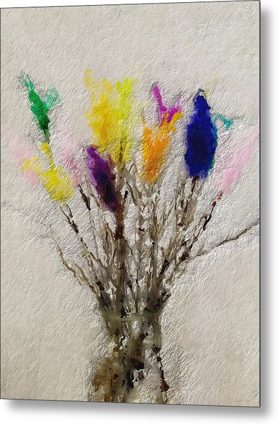 Easter Tree- Abstract Art By Linda Woods Metal Print