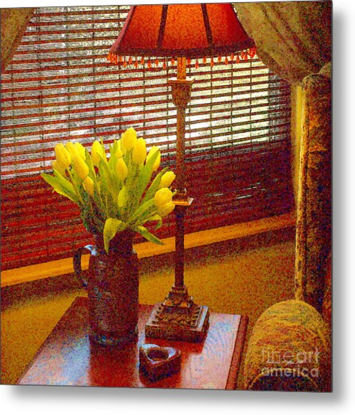 Easter Tulips Still Life - Paintograph Metal Print by Christine S Zipps