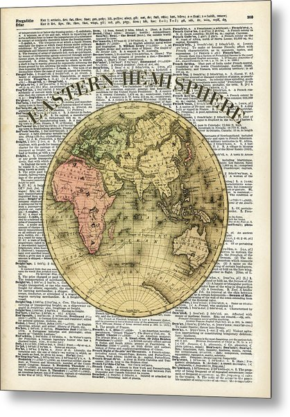 Eastern Hemisphere Earth Map Over Dictionary Page Metal Print