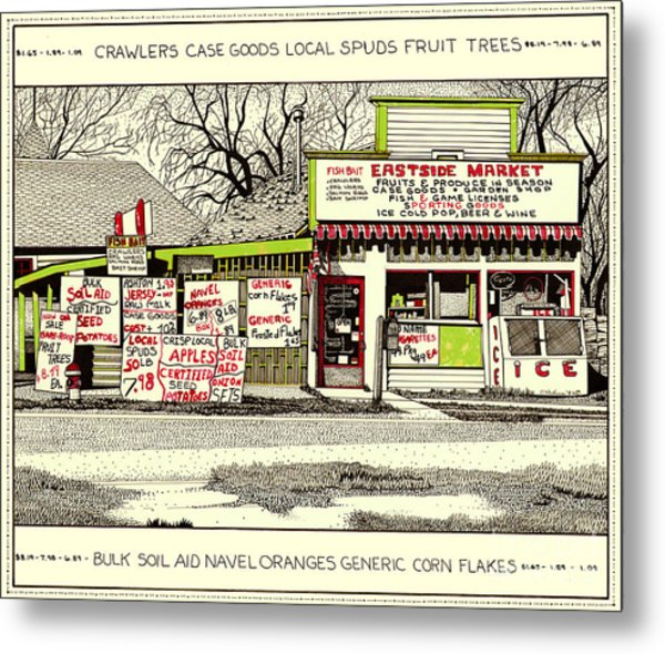 Metal Print featuring the painting Eastside Market by Chholing Taha
