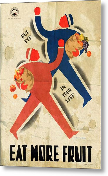 Eat More Fruit - Vintage Poster Folded Metal Print