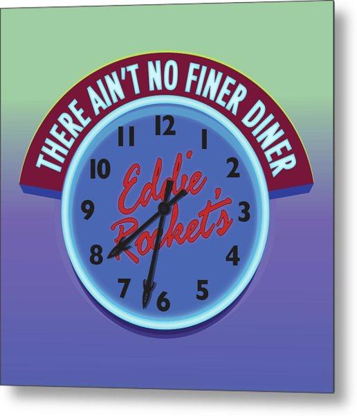 Eddie Rocket Clock Metal Print