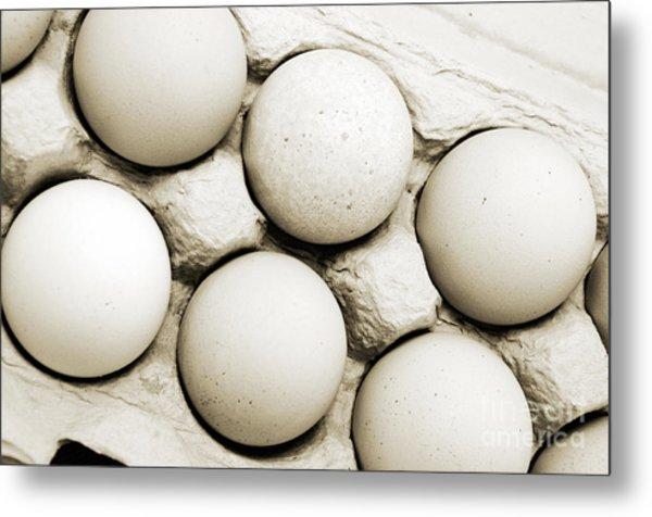Edgy Farm Fresh Eggs Metal Print