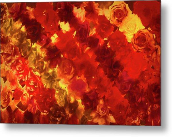 Edgy Flowers Through Glass Metal Print