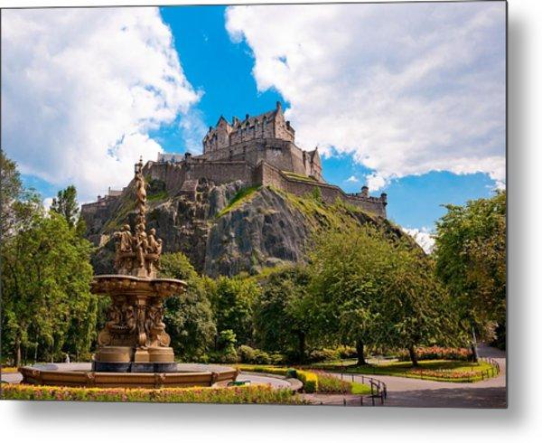 Edinburgh Castle From The Gardens Metal Print