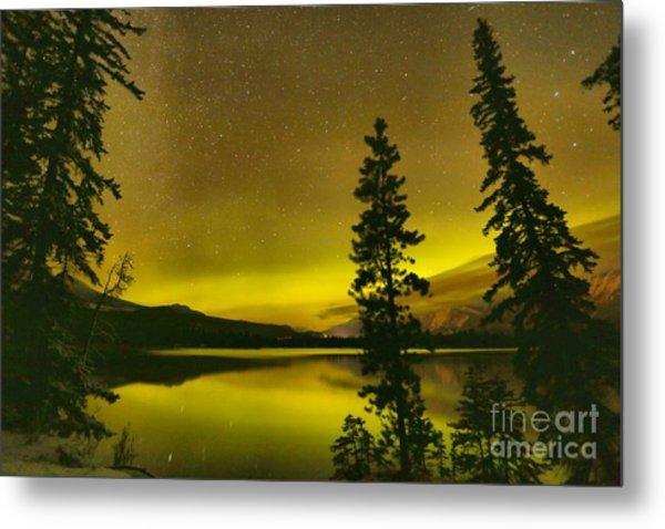 Edith Lake Northern Lights Silhouettes Metal Print