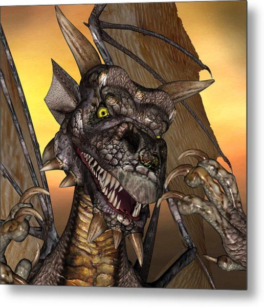 'edwin' Dragon - With Claws Like These Who Needs A Tooth Pick  Metal Print