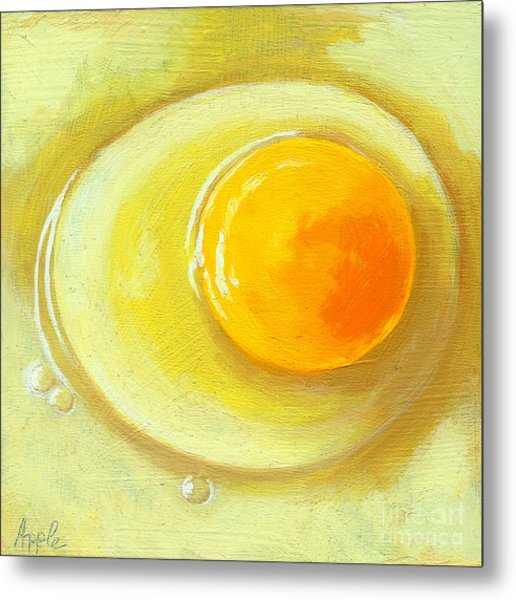 Egg On A Plate - Realism Painting Metal Print