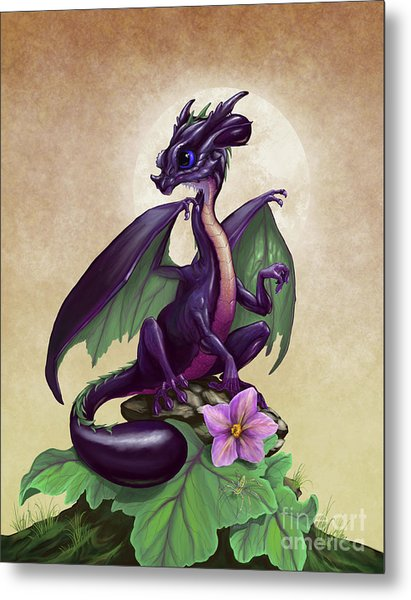 Eggplant Dragon Metal Print