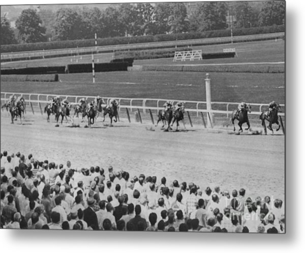 Egomaniac Heads For Victory On Opening Day At Belmont. 1969 Metal Print by Anthony Calvacca